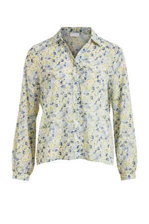 blouse VIJEMO met all over print lichtblauw/groen