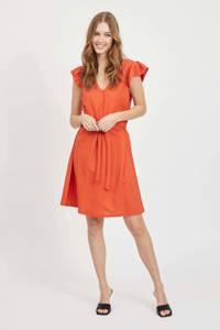 VILA jurk VIWANDERA  met ruches rood/oranje, Rood/oranje