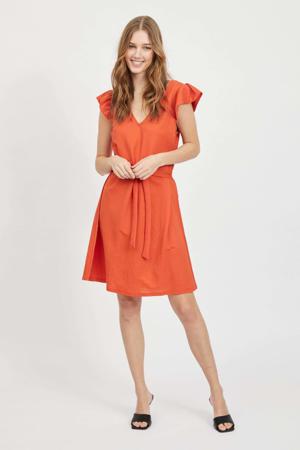 jurk VIWANDERA  met ruches rood/oranje