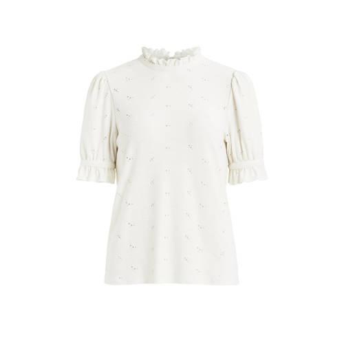 VILA top VIKIWI van gerecycled polyester wit