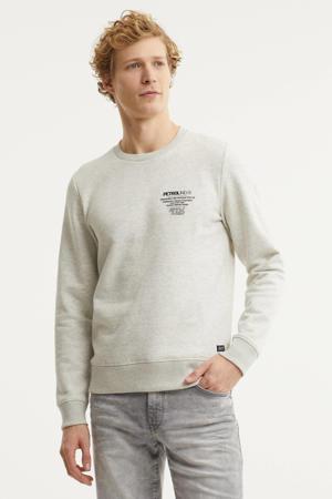 sweater met logo ecru melange
