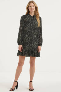 Freebird semi-transparante jurk met all over print en volant zwart/donkergroen/wit