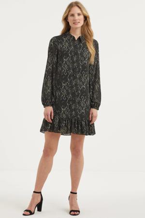 semi-transparante jurk met all over print en volant zwart/donkergroen/wit
