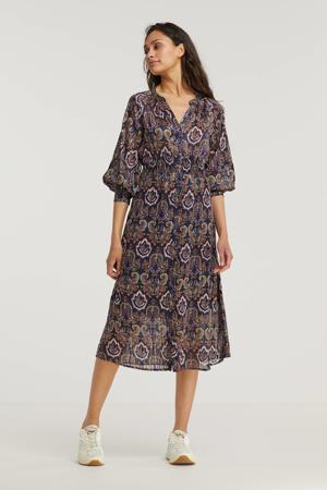 semi-transparante jurk Mae met all over print paars