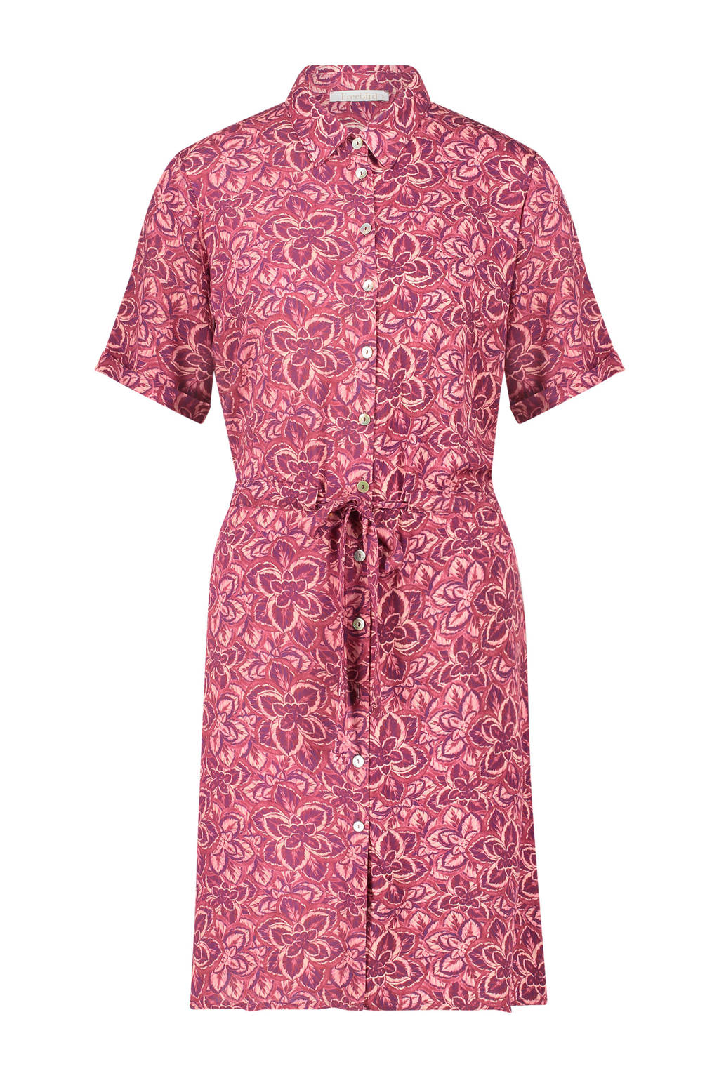 Freebird blousejurk Suzy met all over print en ceintuur roze, Roze