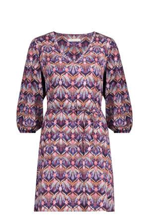jurk Irena met all over print en ceintuur paars