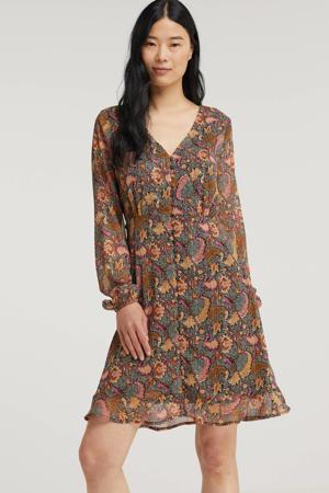 semi-transparante A-lijn jurk Chara met all over print bruin/roze