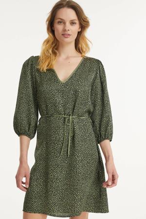 jurk Irina met all over print en ceintuur groen/zwart
