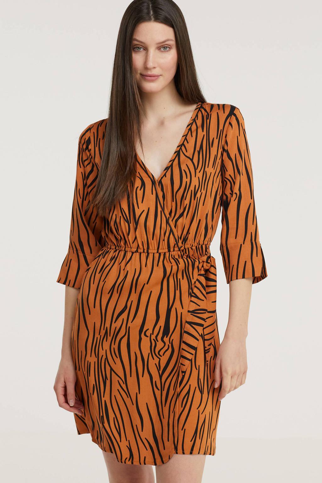 Freebird jurk Odette met zebraprint en ceintuur oranje, Oranje