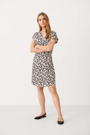 jurk IlimaPW met all over print en ceintuur zwart/off white