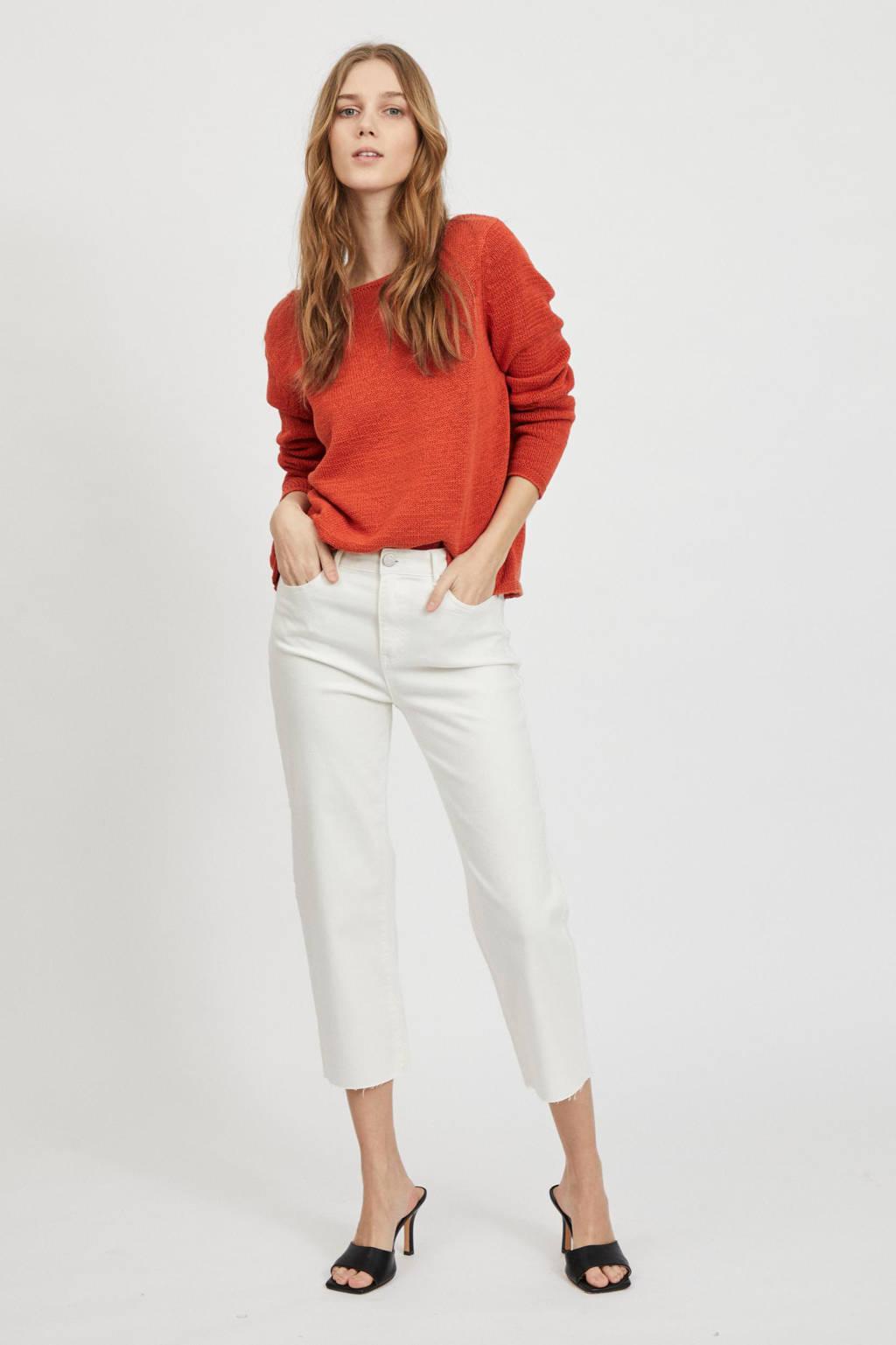 VILA cropped high waist loose fit jeans VISTRAY wit, Wit