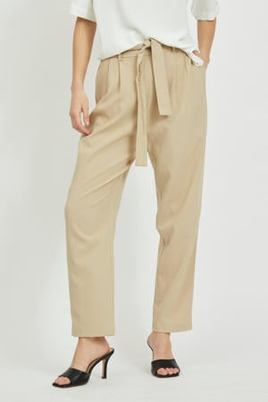 high waist loose fit broek VIFIORELA beige