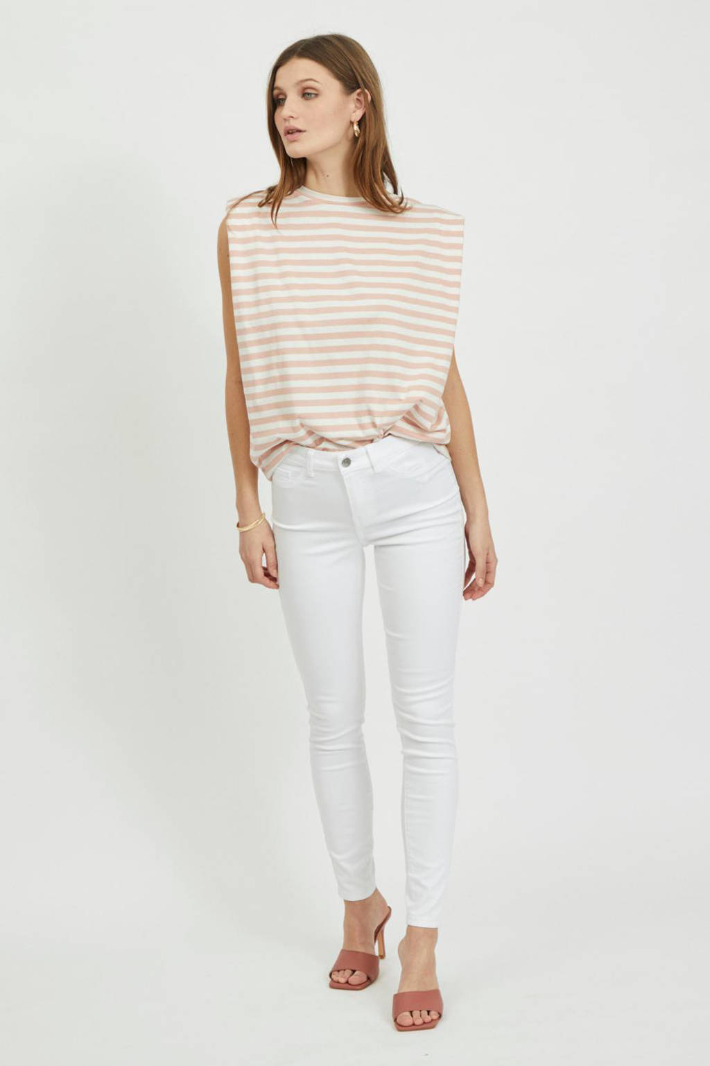 VILA skinny jeans VISWAY wit, Wit