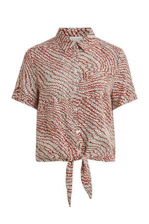 blouse VIMORAS met all over print ecru/rood