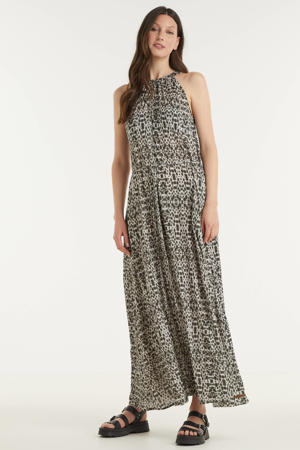 halter maxi jurk met all over print groen