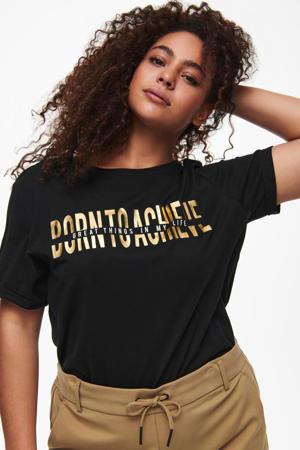 T-shirt CARLIAS van biologisch katoen zwart/goud/wit