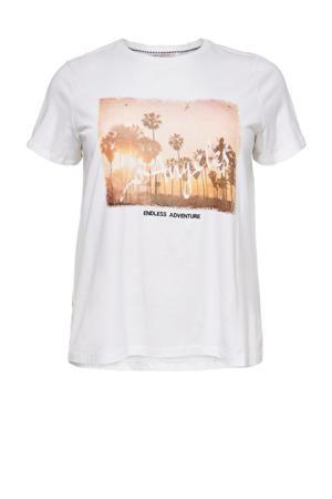 T-shirt CARNICE van biologisch katoen wit/oranje/zwart