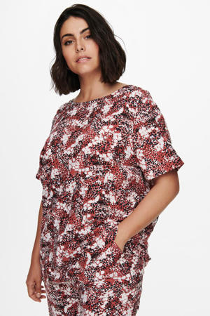 top CARBANDI met all over print rood/donkerblauw/wit