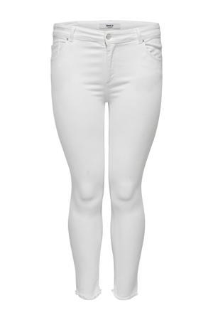 cropped skinny jeans met slijtage wit
