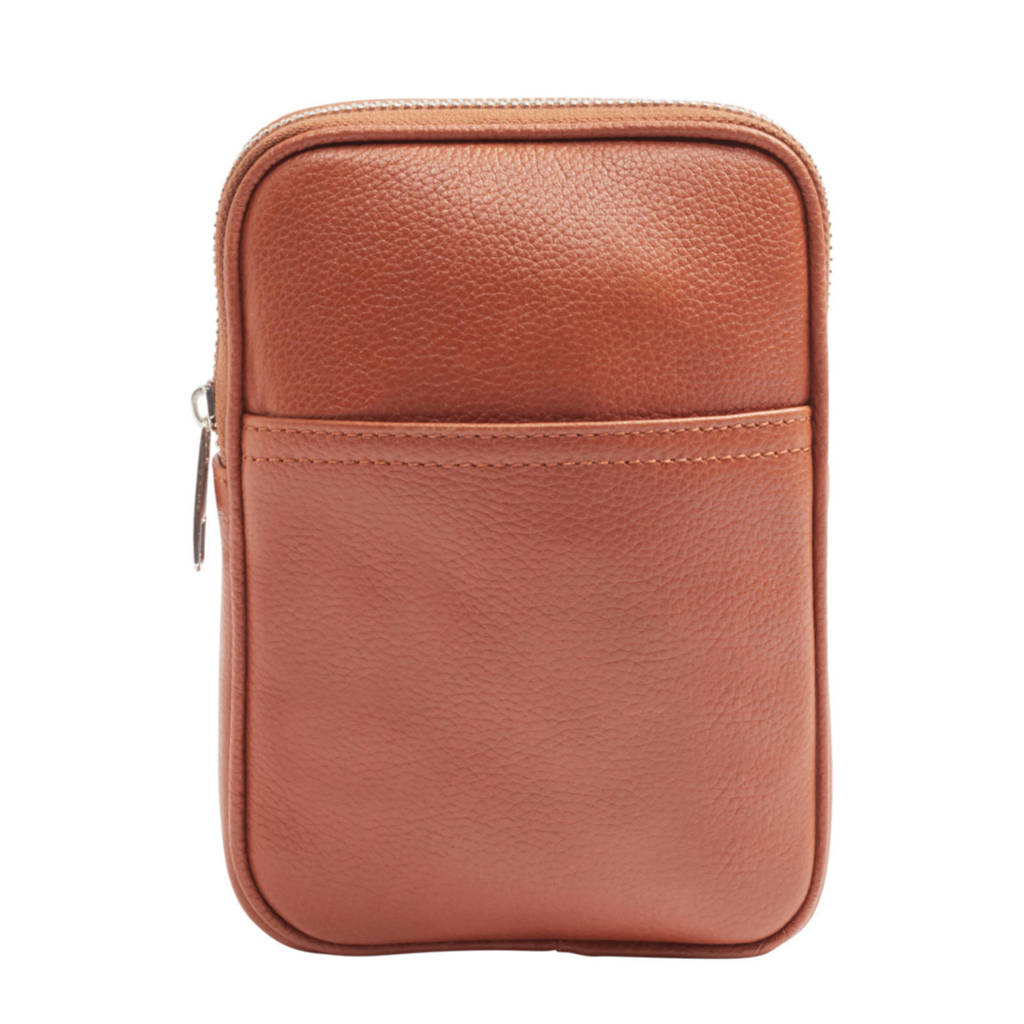 5th Avenue  leren crossbody tas cognac, Cognac