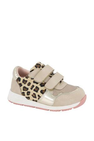 sneakers met panterprint beige/goud
