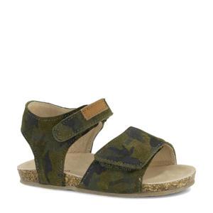 leren sandalen met camouflageprint groen