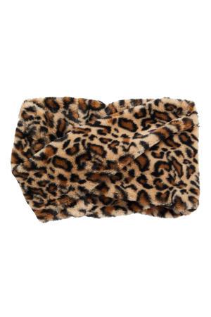 colsjaal met luipaardprint zwart