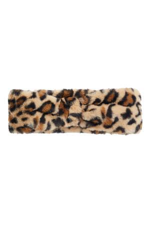 hoofdband met dierenprint zwart/beige