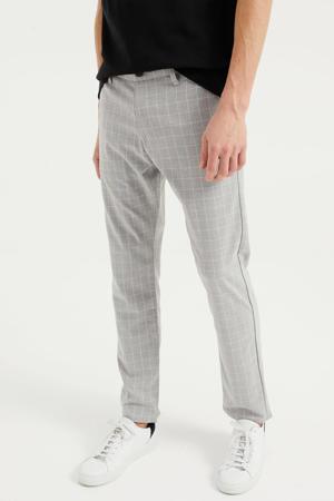 geruite slim fit pantalon grey melange