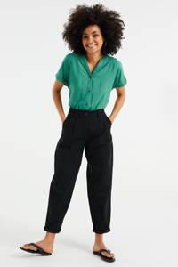 WE Fashion high waist tapered fit broek zwart, Zwart