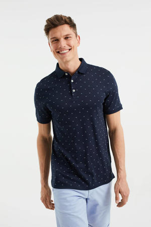 regular fit polo met all over print heavy blue