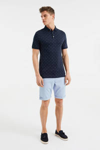WE Fashion regular fit polo met all over print heavy blue, Heavy Blue