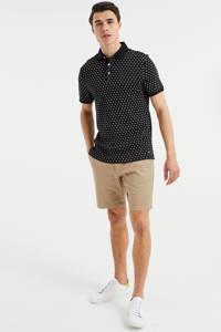 WE Fashion regular fit polo met all over print black uni, Black Uni