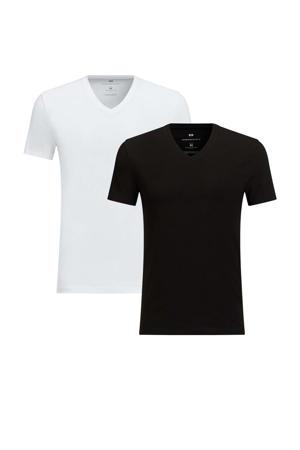 slim fit T-shirt (set van 2) zwart/wit