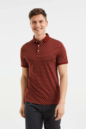 slim fit polo met all over print dark bloody mary