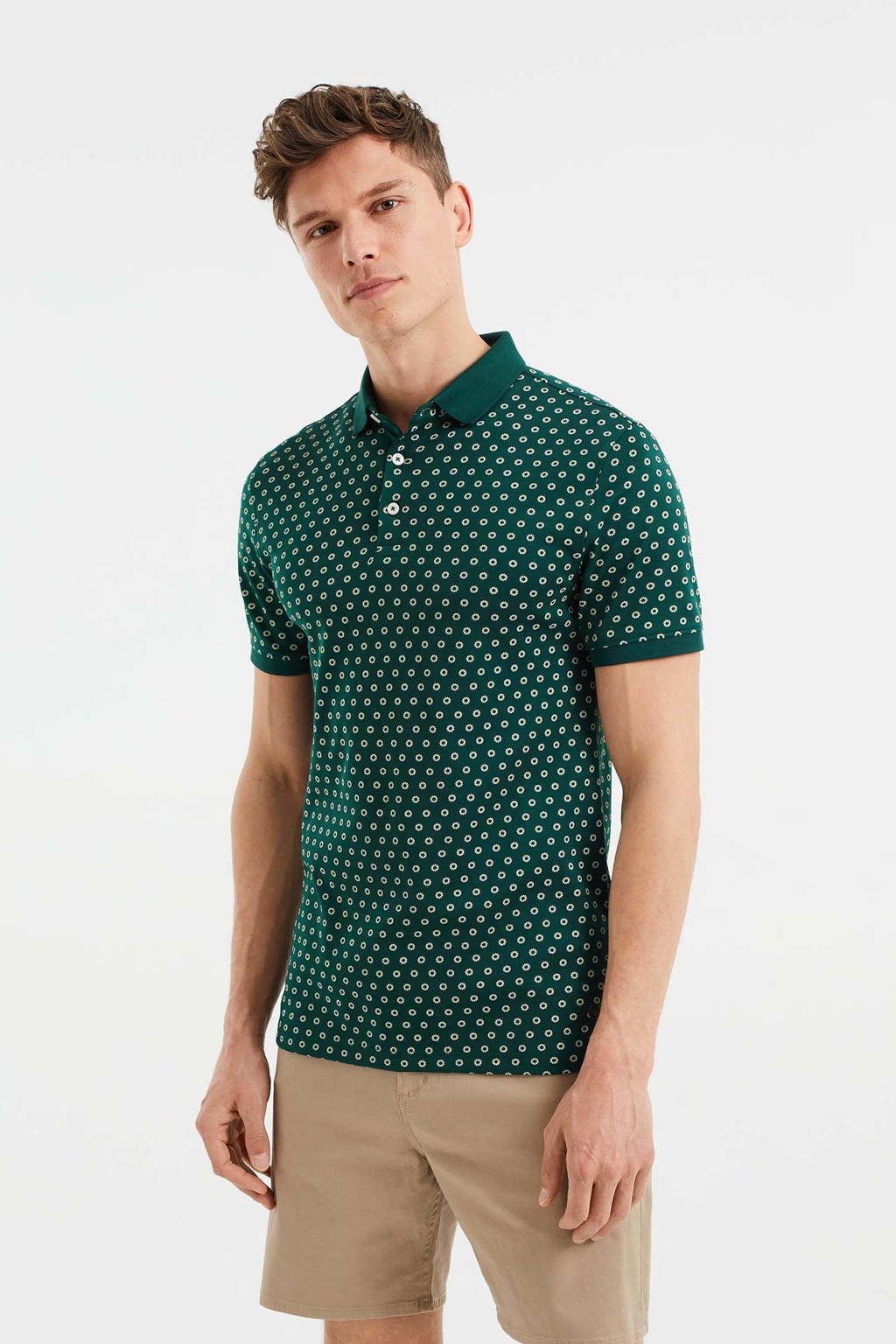 WE Fashion regular fit polo met all over print kale, Kale