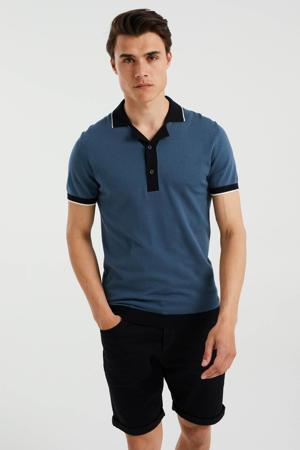 fijngebreide slim fit shirt met contrastbies petrol grey