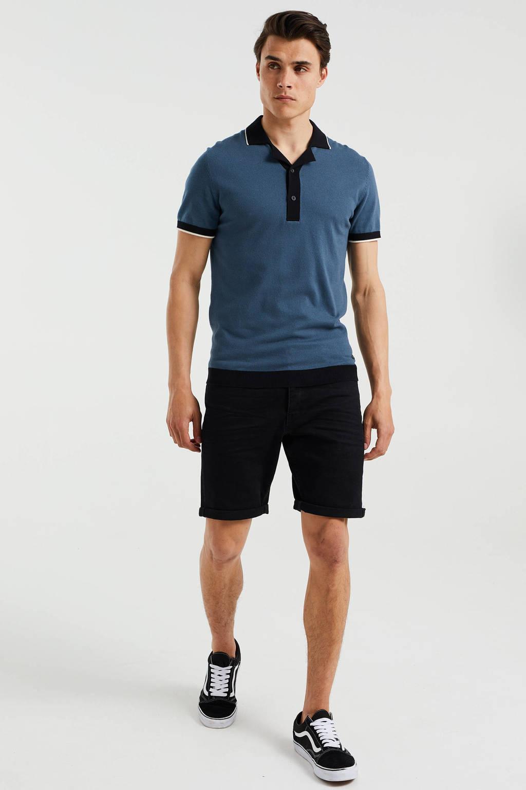 WE Fashion fijngebreide slim fit polo met contrastbies petrol grey, Petrol Grey