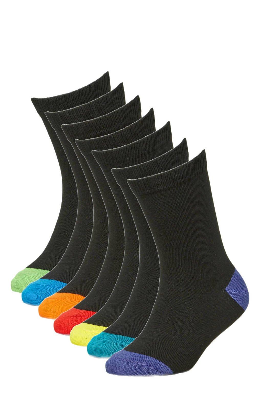 WE Fashion sokken - set van 7 zwart/multi, Zwart/multi