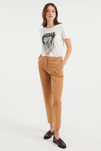 WE Fashion slim fit pantalon bruin, Bruin