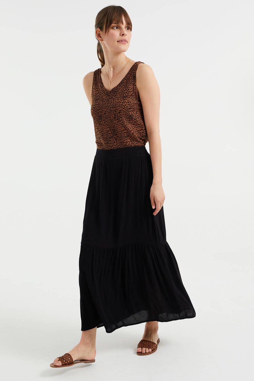 WE Fashion maxi rok met plooien zwart, Zwart