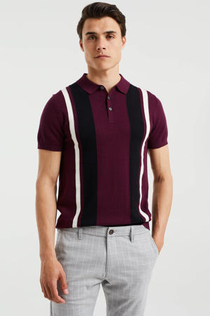 gestreepte slim fit shirt garnet