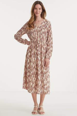 jurk Camly Rikkelie van gerecycled polyester lichtbruin