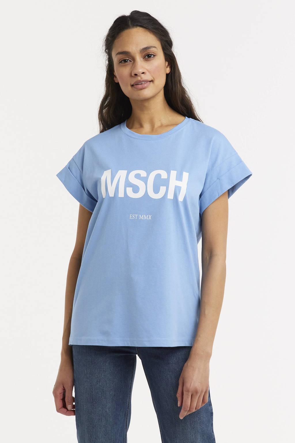 MSCH Copenhagen T-shirt Alva met logo lichtblauw, Lichtblauw