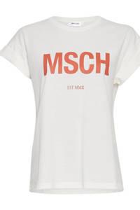 MSCH Copenhagen T-shirt Alva met logo wit, Wit/ zalmroze