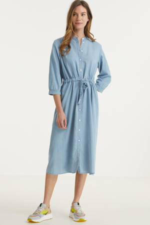 spijker blousejurk Jaina met ceintuur lichtblauw