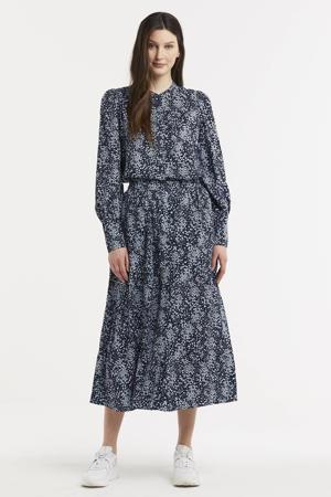 gebloemde blouse Amaya Raye donkerblauw/wit