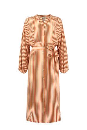 gestreepte blousejurk Aletta oranje/ creme