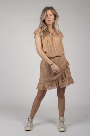 blouse Roos met all over print en plooien beige