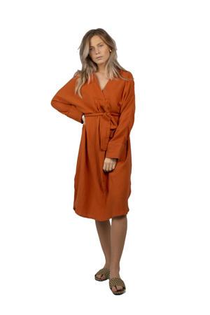 jurk Florence met ceintuur roodbruin